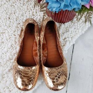 Lucky Brand Emmie Metallic Gold Ballet Flats Sz7.5
